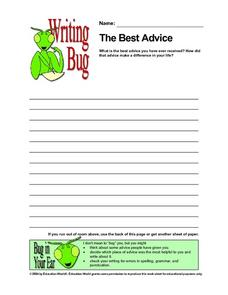The Best Advice: Writing Paper Worksheet