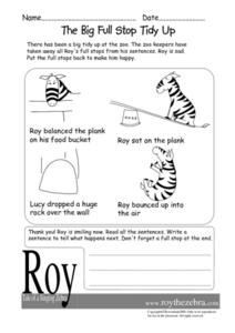 The Big Full Stop Tidy Up Worksheet