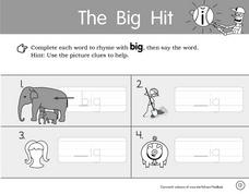 The Big Hit- Literacy and Grammar Worksheets Worksheet