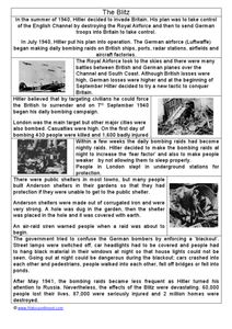 The Blitz: World War II Worksheet