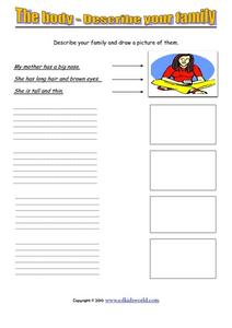 The Body - Describe Your Family Worksheet