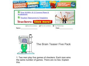 The Brain Teaser Five Pack Worksheet