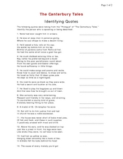 the canterbury tales identifying quotes quiz 9th 12th grade worksheet lesson planet. Black Bedroom Furniture Sets. Home Design Ideas