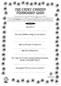 The Cathy Cassidy Friendship Quiz! Worksheet