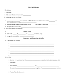 Printables The Cell Worksheet the cell theory 9th 12th grade worksheet lesson planet worksheet