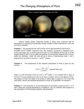 The Changing Atmosphere of Pluto Worksheet