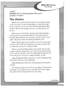 The Choice-Test Taking Practice Worksheet