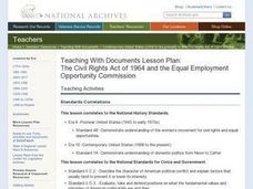 The Civil Rights Act of 1964 and the Equal Employment Opportunity Commission Lesson Plan