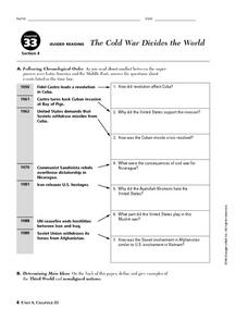 The Cold War Divides the World Worksheet