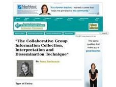 """The Collaborative Group Information Collection, Interpretation and Dissemination Technique"" Lesson Plan"