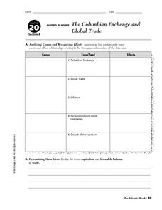 the columbian exchange and global trade 6th 8th grade worksheet lesson planet. Black Bedroom Furniture Sets. Home Design Ideas
