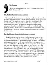 The Comma Worksheet