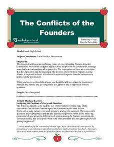 The Conficts of the Founders Lesson Plan