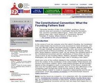 The Constitutional Convention: What the Founding Fathers Said Lesson Plan