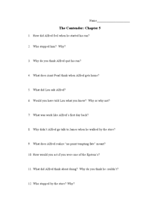 The Contender: Chapter 5 Lesson Plan
