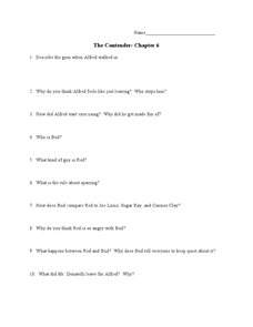 The Contender: Chapter 6 Worksheet