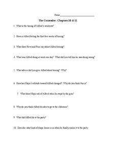 The Contender: Chapters 10 and 11 Worksheet