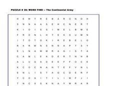 The Continental Army Word Search Worksheet