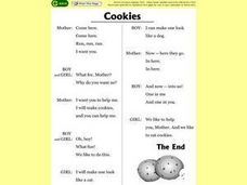 The Cookies-- 3 Character Dialogue/Script Worksheet
