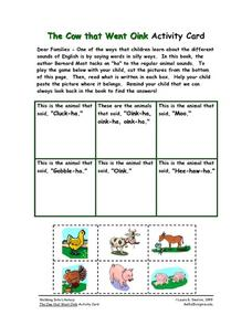 The Cow that Went Oink Activity Card Worksheet
