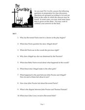The Crucible Study Guide Worksheet