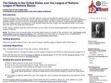 The Debate in the United States over the League of Nations: League of Nations Basics Lesson Plan