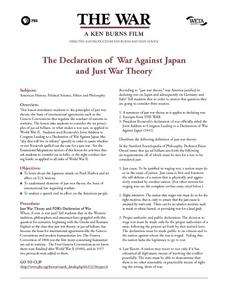 The Declaration of War Against Japan and Just War Theory Lesson Plan