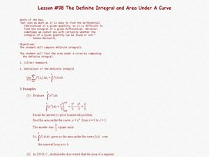 The Definite Integral and Area Under A Curve Lesson Plan