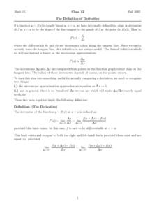 The Definition Derivative Worksheet