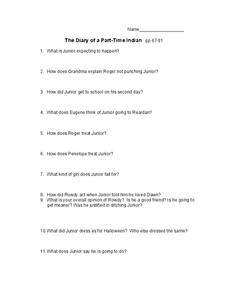 The Diary of a Part-Time Indian Pages 67-81 Worksheet
