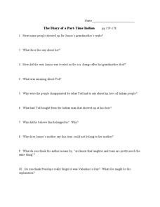 The Diary of a Part-Time Indian pp 159-178 Lesson Plan