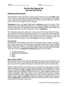 The Dirt We Depend On; How Soil Was Formed Reading Comprehension Worksheet Worksheet