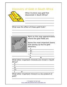 The Discovery of Gold in South Africa Worksheet