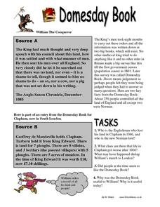 The Doomsday Book of William the Conqueror Worksheet