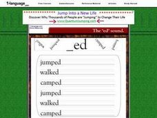 "The ""ed"" Sound: Jumped, Walked, Camped Worksheet"