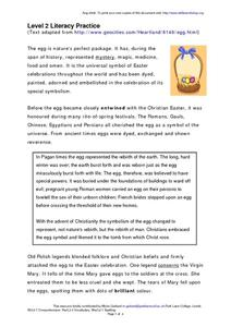 The Egg and Symbolism with the Christian Easter Worksheet