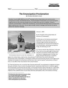 the emancipation proclamation 8th 11th grade worksheet lesson planet. Black Bedroom Furniture Sets. Home Design Ideas