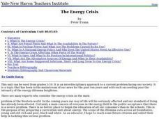 The Energy Crisis Lesson Plan