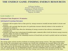 The Energy Game: Finding Energy Resources Lesson Plan