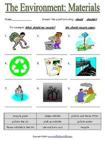 The Environment: Materials Worksheet