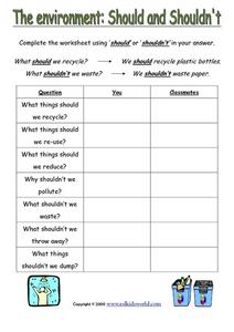 The Environment: Should and Shouldn't Worksheet