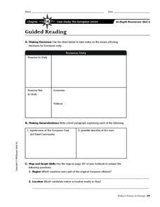 The European Union Worksheet