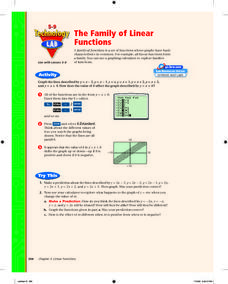 The Family of Linear Functions Lesson Plan