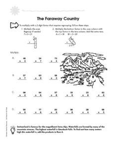 The Faraway Country: Multiple with 2 Digit Factors Worksheet