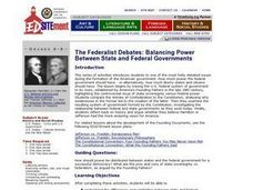 The Federalist Debates: Balancing Power Between State and Federal Governments Lesson Plan