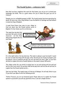 The Feudal System – Extension Task Worksheet