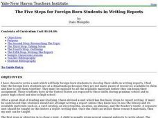 The Five Steps for Foreign Born Students in Writing Reports Lesson Plan