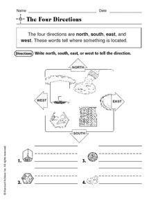 The Four Directions: North, South, East, West Worksheet