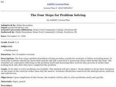 The Four Steps for Problem Solving Lesson Plan