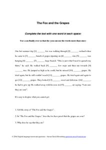 """The Fox and the Grapes"" Worksheet"